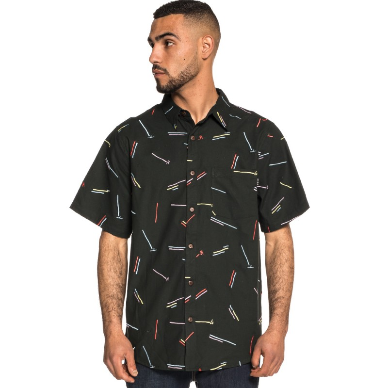 CAMISA GRIMEY ECHOES BUTTON UP SHIRT SS18 BLACK