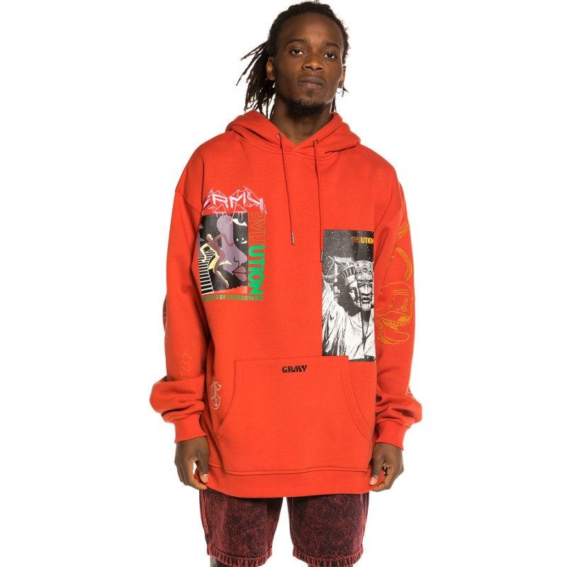 Sudadera Grimey Liveution Magic 4 Resistance Hoodie Red   Spring 21
