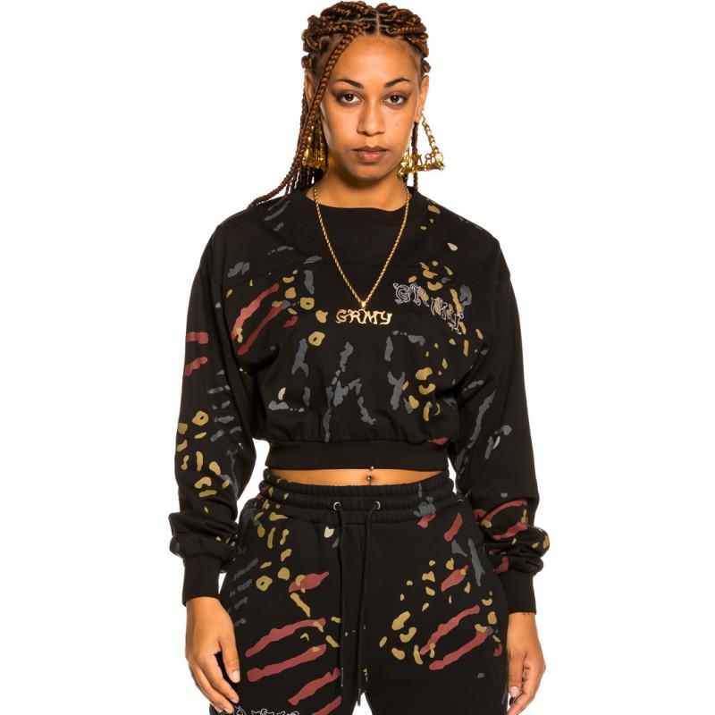 "Camiseta corta de Chica Grimey ""Jazz Thing"" All Over Print LS - Black | Fall 21"