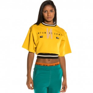 Camiseta Grimey Chica Nite Marauder Fleece Girl Crop Top FW20 Mustard