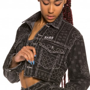 Chaqueta Chica Grimey Carnitas Crop Denim SS20 Black