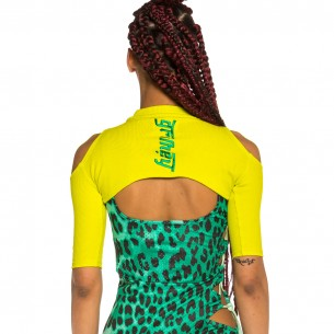 Top Grimey Chica Yanga Mid Sleeve Crop SS20 Green
