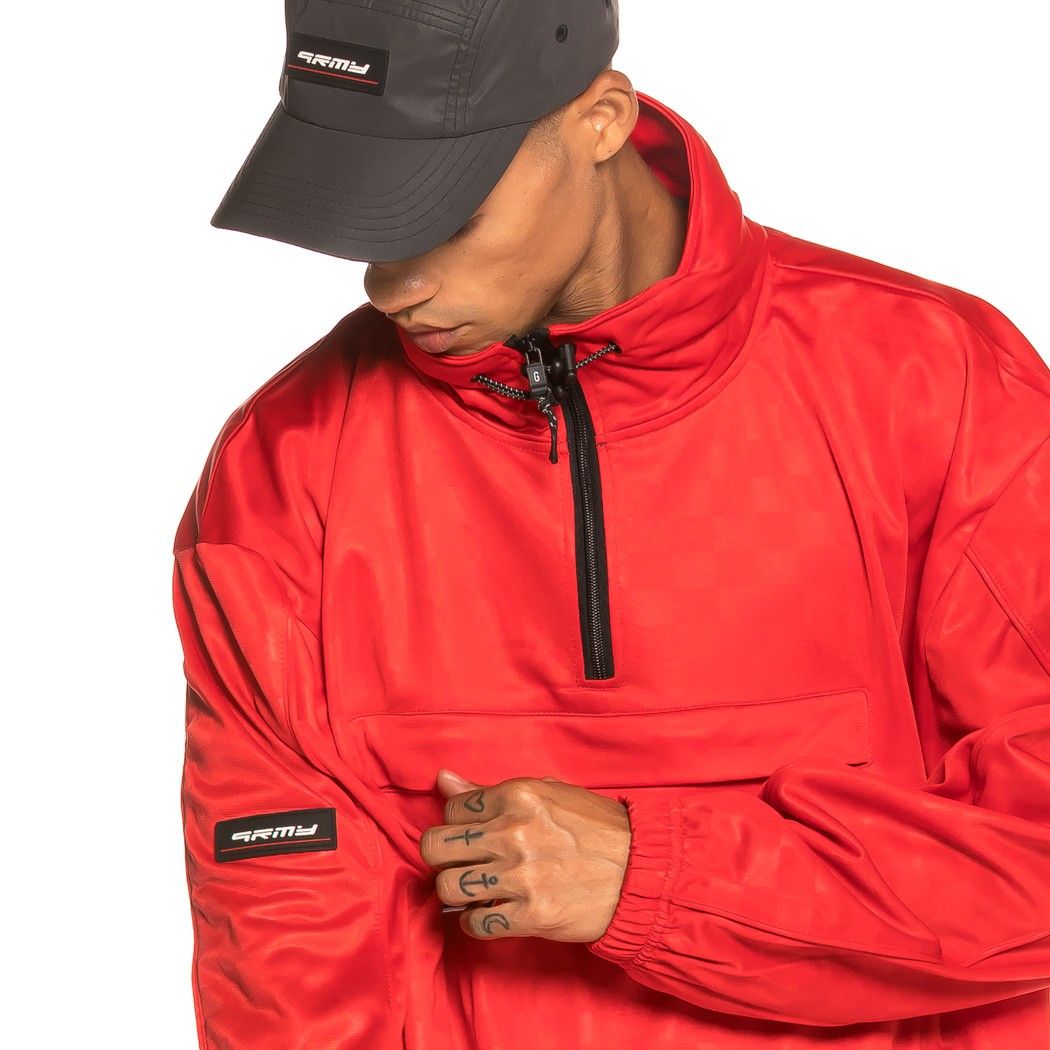 GRIMEY Track Jacket Sighting in Vostok Poly TJ FW19 Red